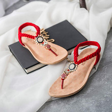 Summer Casual Sandals Women Bohemia Sweet Beaded Fashon Sandals Clip Toe Sandals Flat Beach Shoes Femme ete 2017 Zapatos Mujer