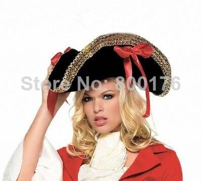 Envío libre 8163 negro Encaje sombrero de pirata para mujer disfraz de  Halloween terciopelo sombrero de pirata en Accesorios disfraces mujer de La  novedad y ... 976443ea50b