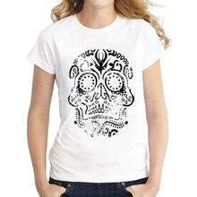 2422f231791 2017 nueva marca mujeres dibujo del cráneo impreso señora casual Slim  personalizado paño de víspera moda novedad fresca camiseta