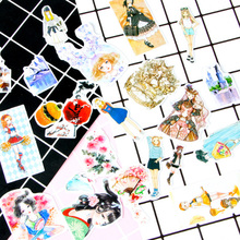 1X Cute Beautiful girl pocket sticker PET paper DIY decoration Diary Scrapbook Decoration Stationery Sticker