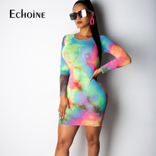 2019 women tie dyed print o-neck sexy bodycon midi mini dress active wear pencil long sleeve party Night club Elegant dresses