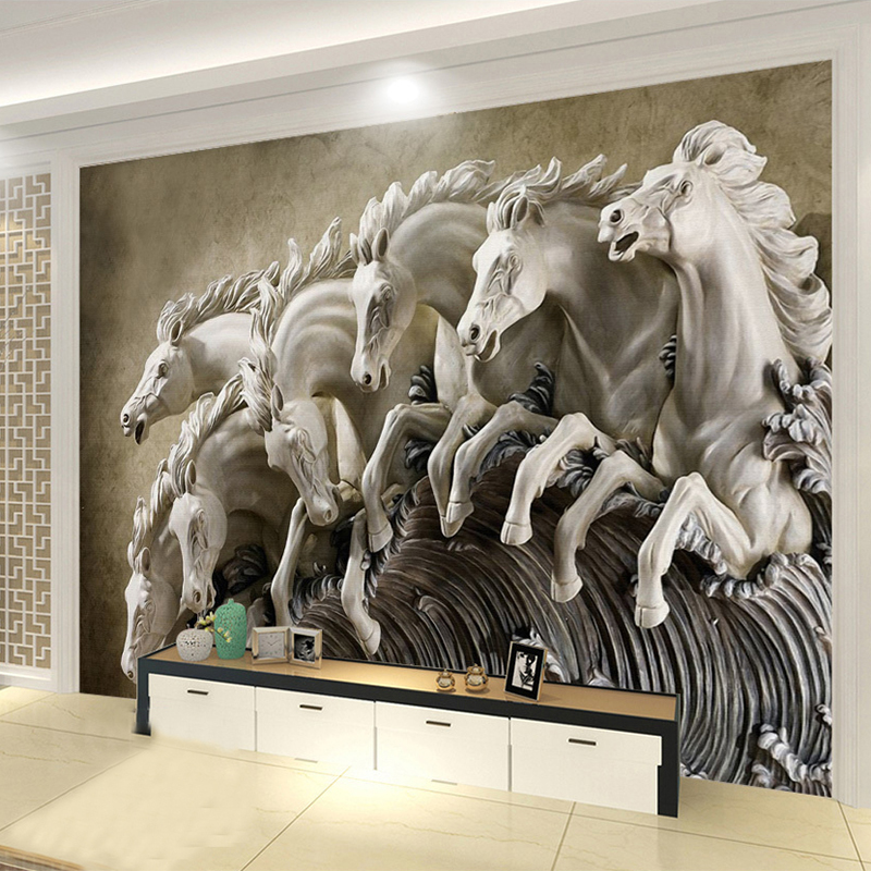 3D Stereo Relief Horse Mural Wallpaper Living Room TV Sofa Background Wall Painting Classic Home Decor Wall Papers For Walls 3D dongyang woodcarving natural jade carvings pendants living room three dimensional relief sofa background wall painting sol