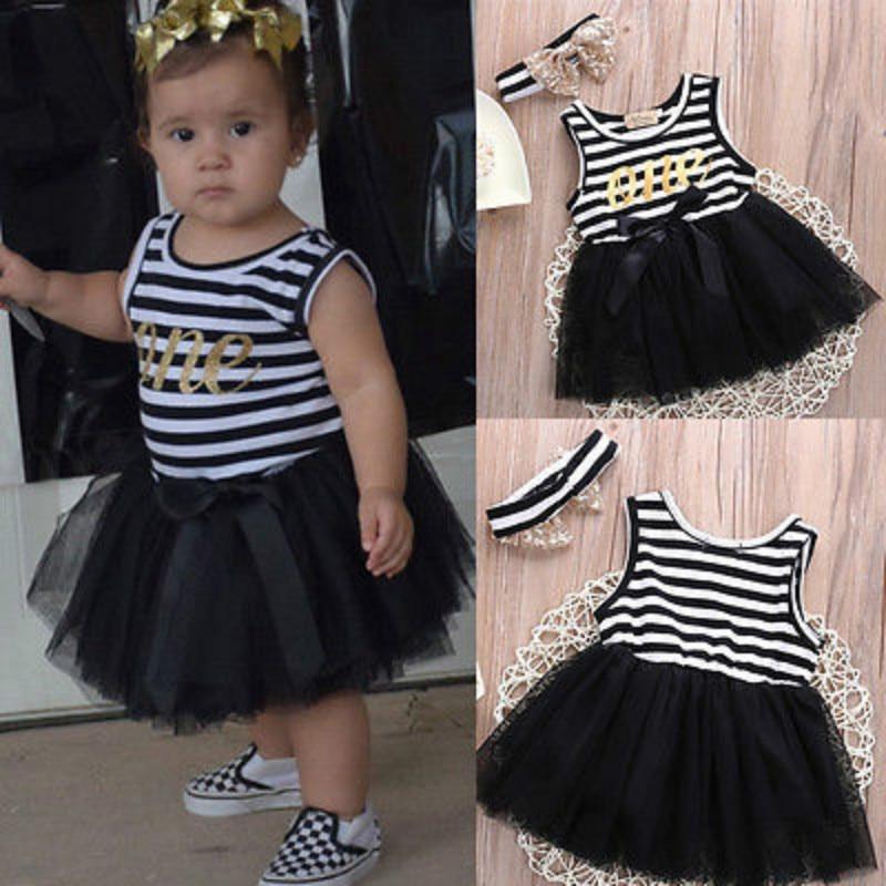Princess Newborn Baby Kids Girls Summer Sundress Baby Girls Tutu Dress Striped Bowknot Headband Ball Gonw Girls Dress 0-4Y Black