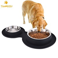 Steel Double Dog Bowl With No Spill Non Skid Silicone Mat Pet Feeder Tool Supplie Stainless