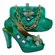 Good looking Matching shoes and bags italy for partyFashion African shoes and bag set of CP63003 green color.