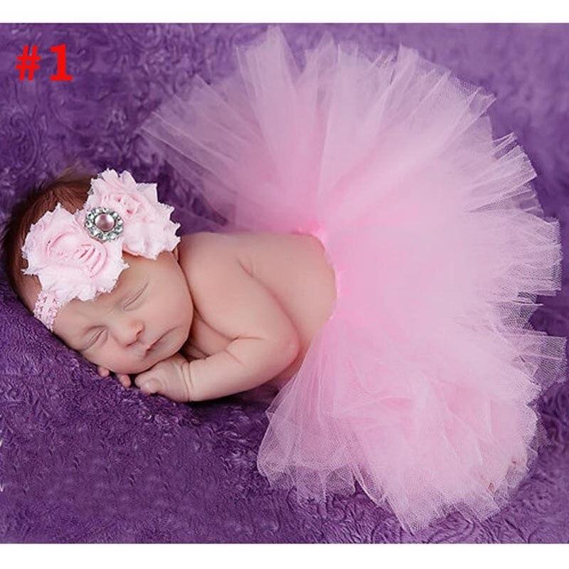 Лидер продаж; фатиновая юбка-пачка для маленьких девочек и повязка на голову с цветами; Комплект для новорожденных; реквизит для фотосессии; подарок на день рождения; 10 цветов; ZT001 - Цвет: Skirt and Headband 2