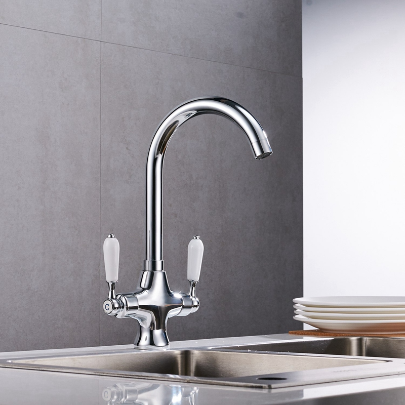 Double Handle Faucet Sink Brushed Steel Sink Kitchen Faucet Silvery MetalDouble Handle Faucet Sink Brushed Steel Sink Kitchen Faucet Silvery Metal