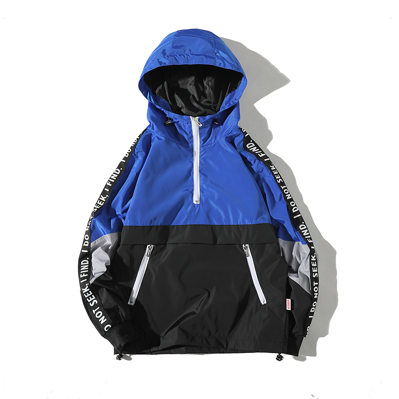 Image 2 - Legible 2019 Patchwork Black Pullover Jacket Fashion Tracksuit Casual Coat Men Windbreaker Hip Hop Streetwear Hooded Jackets Men-in Jackets from Men's Clothing