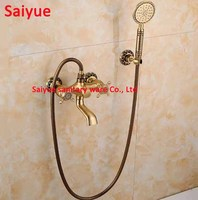 Noble Elegant European Style Wall Mounted Rainfall bathtub Mixer Valve with Hand Shower Spray Head Antique Vintage Brass set