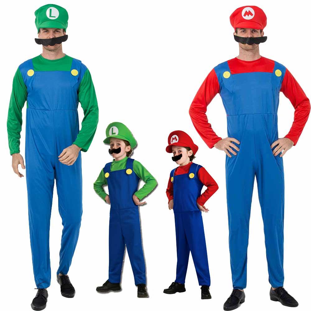 Adults and Kids Super Mario Costume Onesie Men And Boys Halloween Party Cosplay Mario Luigi Cartoon Christmas Costume