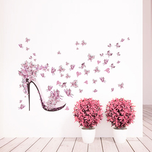 High Heel Shoes Flying Butterfly Branch Wall Stickers Living Room Girls Bedroom Decorations Home Love Heart Diy Pvc Mural Decals