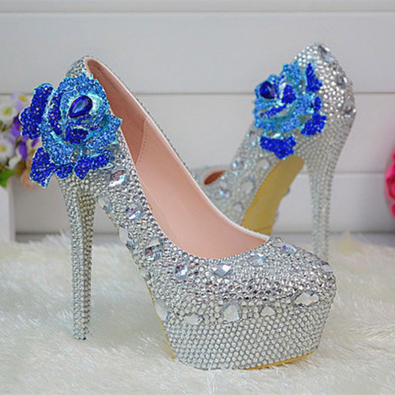 Hot Sale!14CM White Pearls Crystal Flowers Women Wedding Shoes High Heel Platform Sexy Bridal Shoes Slip On  Women Party Shoes customize rhinestone blue enchantress pearls wedding shoes high heels slip on bridal shoes platform shoes no71