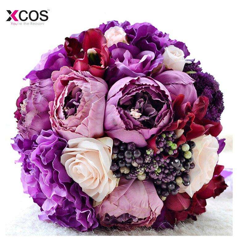 Nouveau beau Bouquet de mariage Rose violet fait à la main fleur de mariée artificielle hortensia pivoine Rose mariée tenant des Bouquets de broche