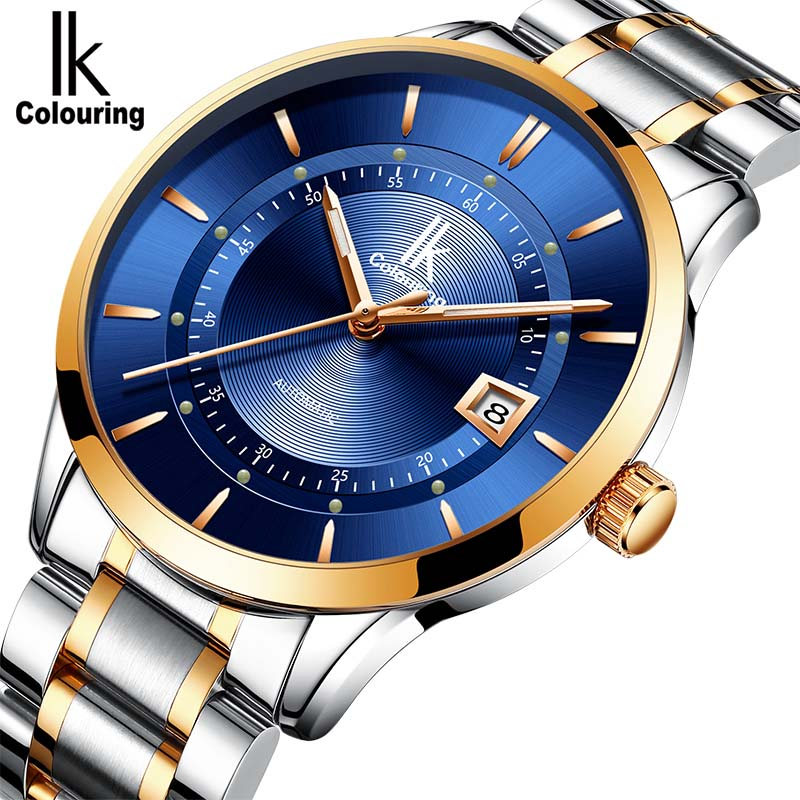 лучшая цена Men's mechanical automatic watch IK colouring Men's Stainless steel Casual Wrist watch Self Wind Male Clock Relogio Masculino