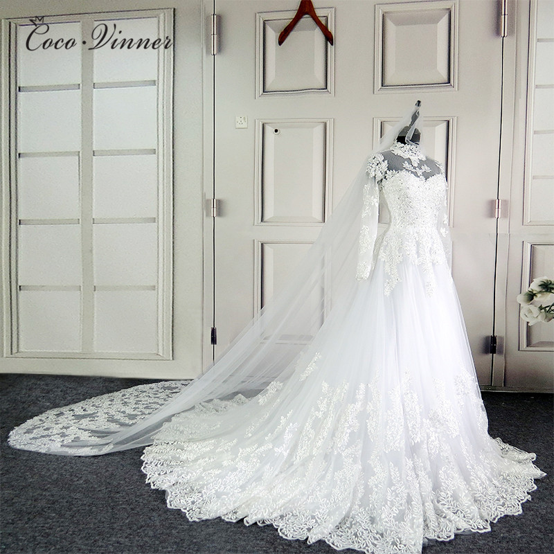 C. V nuevo vestido de boda de encaje de ilusión de cuello alto 201 vestido de fiesta de manga larga Vintage de calidad vestido de novia W0207 - 3