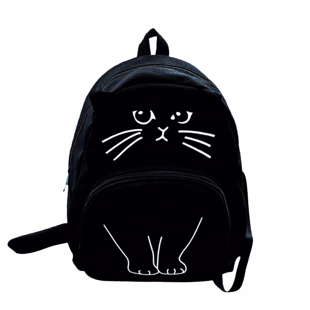 2017 Women Canvas Lovely Cute Cat Printing Backpack Girls Casual School Bag Ladies Travel Rucksack Bookbags Mochila Bags vintage casual small women printing backpack ladies casual preppy style school bag teenager girls female travel rucksack mochila