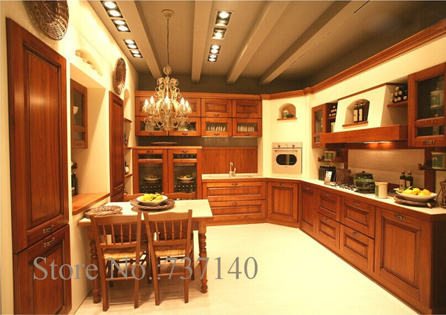 Teak Wood Kitchen Cabinet Foshan Furniture Factory High Quality Solid Wood  Kitchen Cabinets