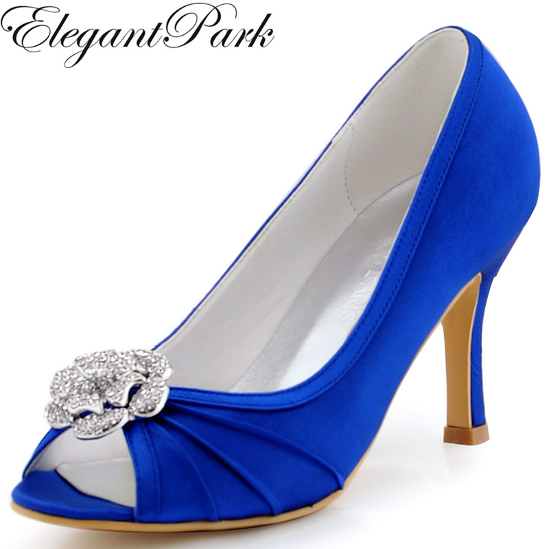Woman Wedding Bridal Shoes Navy Blue High Heel Peep Toe Rhinestones Clips Satin Bridesmaid Evening Pumps Women shoes EP2094AF