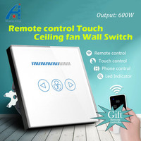 EU Standard 600W fan Speed Regulation wall touch switch and Wireless remote control for Ceiling fan switch, Crystal Glass Panel