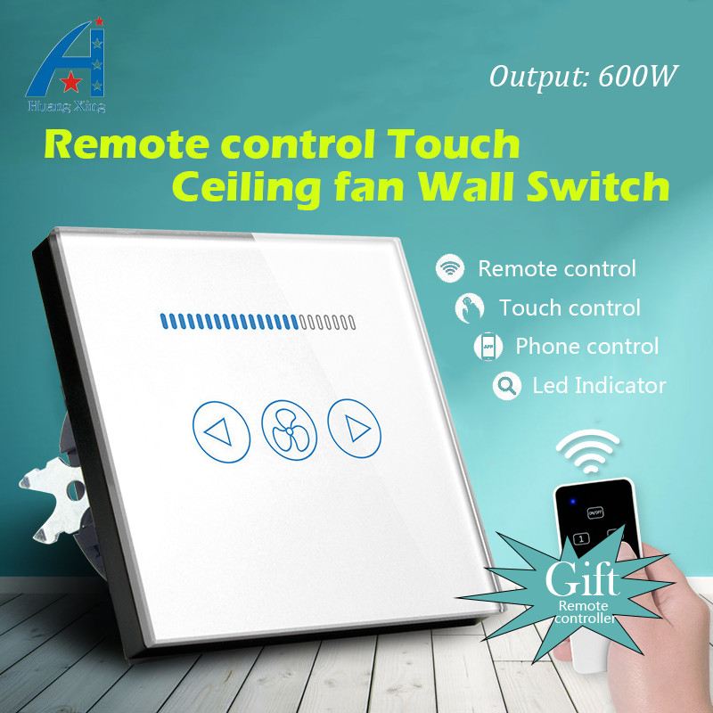 EU Standard 600W fan Speed Regulation wall touch switch and Wireless remote control for Ceiling fan switch, Crystal Glass Panel luxury uk standard wireless remote control for ceiling fan crystal glass panel 600w fan speed regulation wall touch switch