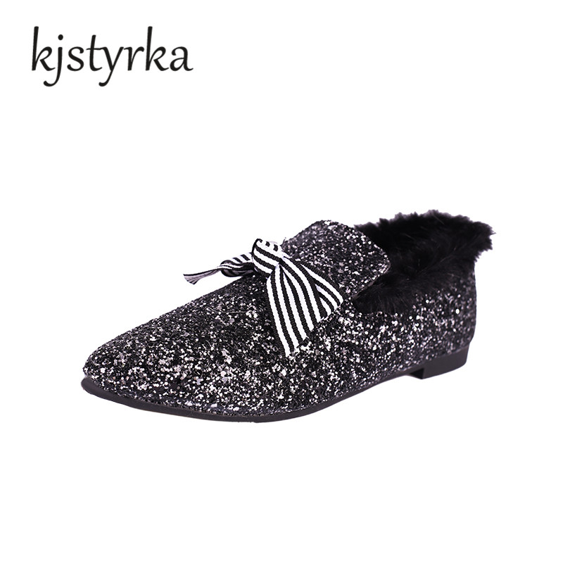 Kjstyrka Ladies Winter shoes women loafers Slip on Bling Rabbit Fur casual Shoes ultralight flats shoes New zapatillas shoes mnixuan mules shoes women 2017 new genuine leather slip on ladies warm fur winter flats rabbit embroidered butterfly casual flat