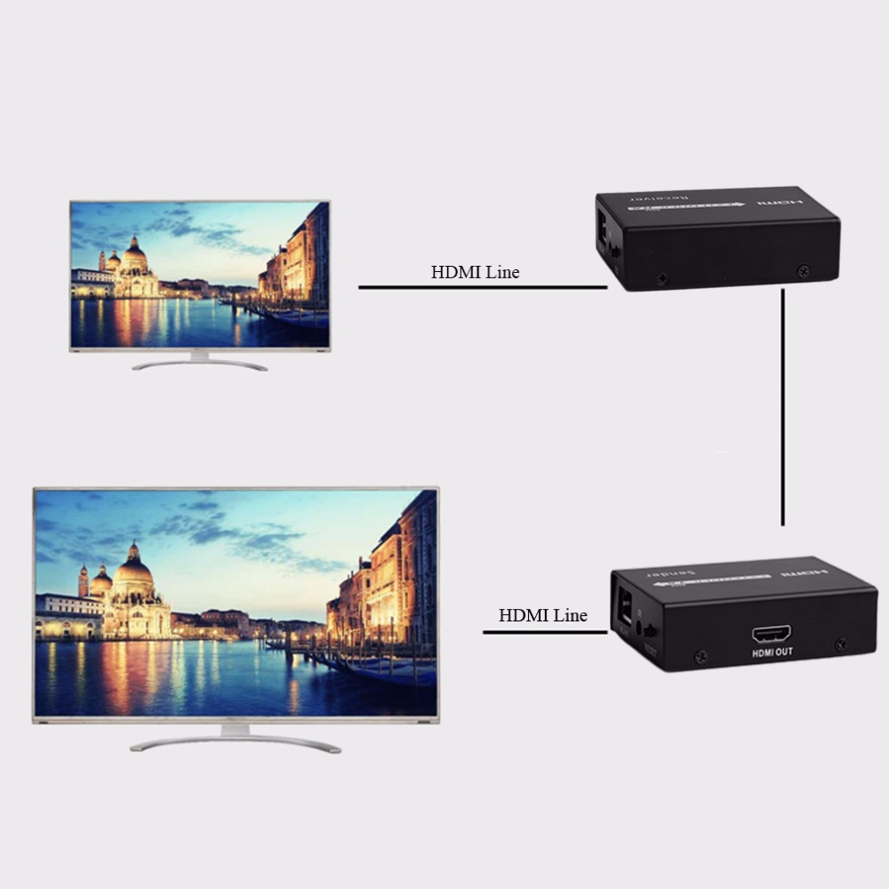 High Professional HDMI UTP Infrared 60M Signal Extender Repeater CAT6 1080P HDMI Extender Work Like Hdmi Splitter high quality 1080p 40m hdmi repeater box extender joiner amplifier booster adapter sep21