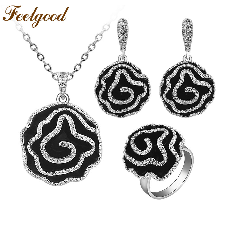 Feelgood Fashion Jewellery Necklace Sets Classic Black Enamel And Crystal Heavy Flower Jewelry Set For Bridal