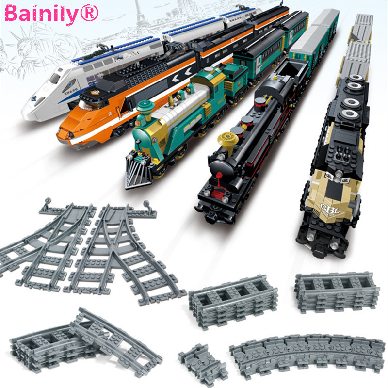 [Bainily] Mini Train Track Building Blocks Bricks Streight and Curve Track Rail Model Toys Compatible With LegoINGly City Train ...