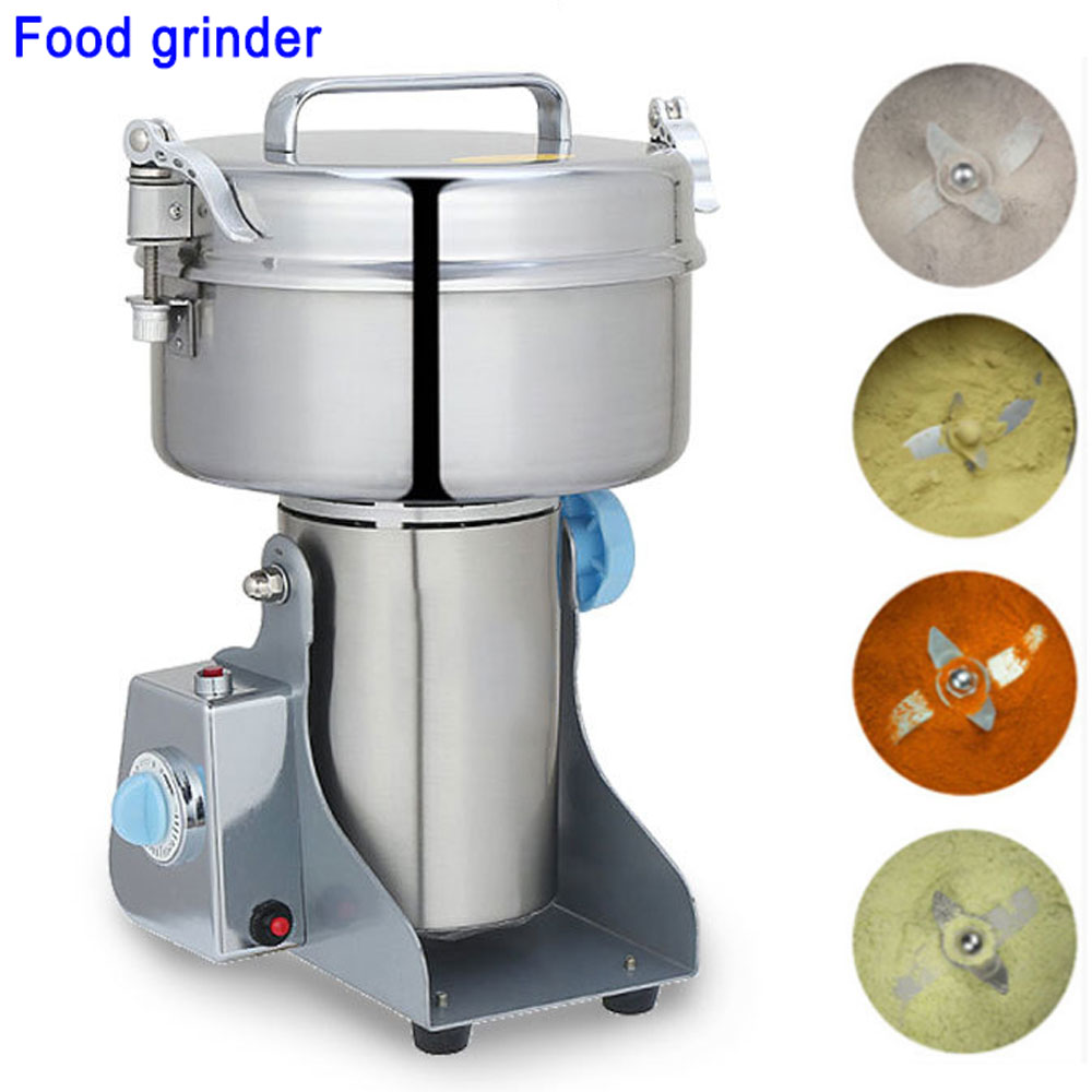 Full Stainless steel grain milling machine, Small household Superfine powder machine, Electric Swing mill, Dry Food grinder 1000g swing food grinder milling machine small superfine powder machine for coffee soybean herb sauce grain crops