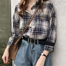 Yfashion Plaid Shirt Women Cotton Long Sleeve Casual Lady Chic Fashion Style Shirts Clothes