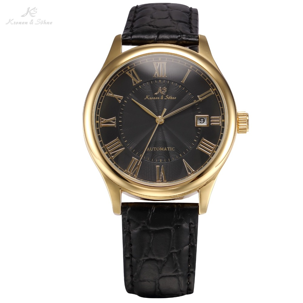 KS Luxury Brand Calendar Display Roman Numerals Dial Leather Strap Automatic Self Wind Mechanical Clock Men Casual Watch /KS242 2017 new fashion men binkada top brand gold luxury wristwatches self wind automatic mechanical calendar leather watch clock
