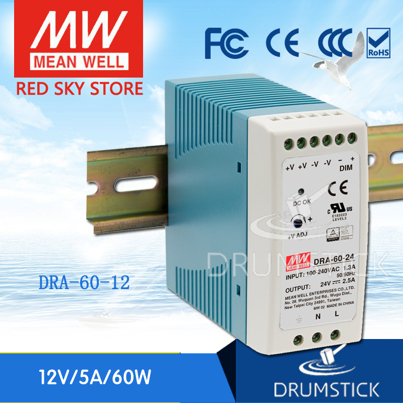Hot sale MEAN WELL DRA-60-12 12V 5A meanwell DRA-60 12V 60W Single Output Switching Power Supply genuine mean well irm 60 12st 12v 5a meanwell irm 60 12v 60w screw terminal style