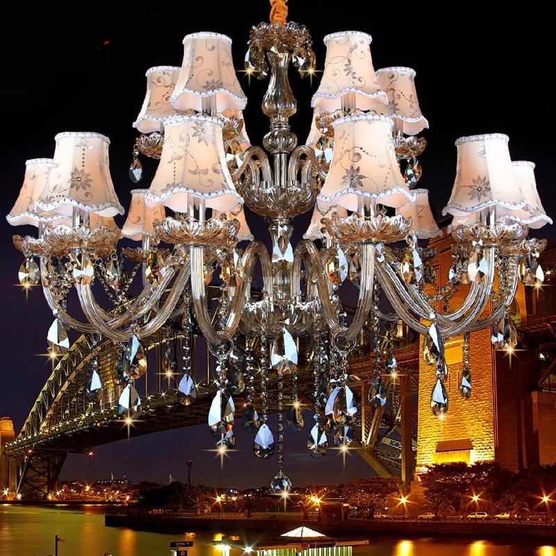 Velké lustrové svítidlo vedené do kuchyně Obývací pokoj Hotel Crystal light lamparas de techo K9 Crystal 15/18 Arms lustres de teto