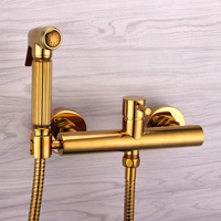 brass bidet hot and cold water sprayer faucet toilet spray nozzle European gold suit toilet cover portable seat two holes