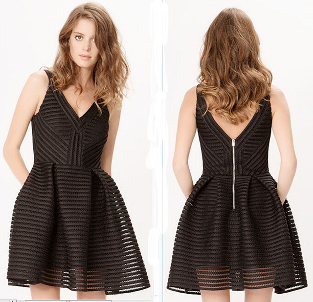 47a2a21efd 2015 New MAJE Puffball dress in openwork knit Black White Mini Ball Gown  Party Dress Hollow Out Backless Mini Pouf Dresses jzz
