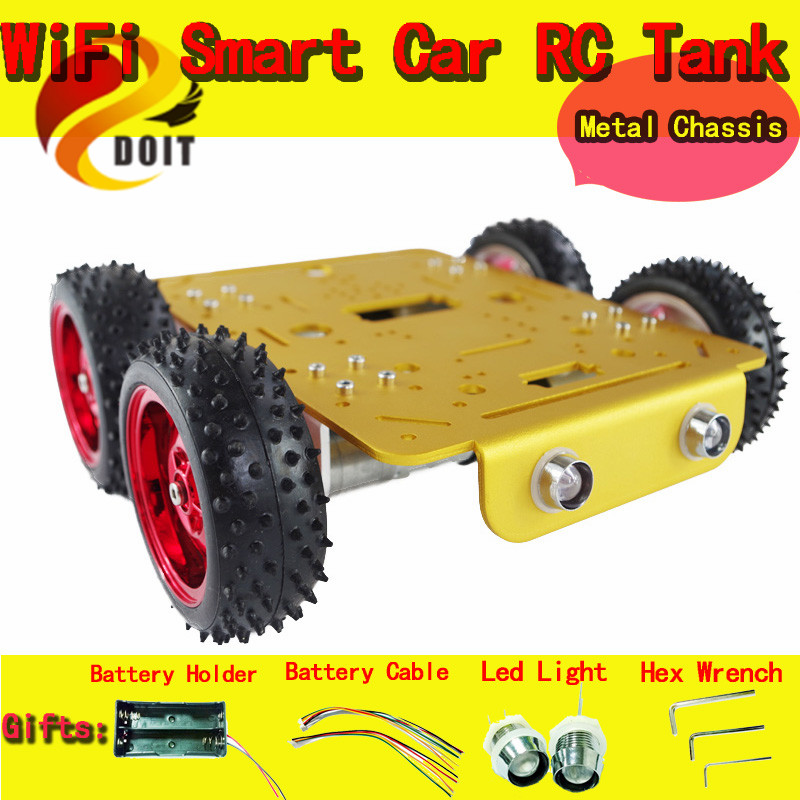 DOIT C300 Aluminum Alloy Metal 4wd Wheel Car Chassis for Esp8266 Development kit Remote Control DIY RC Toy Smart Track original doit silver c300 metal 4wd wheel car chassis development kit remote control diy rc toy smart robot car model