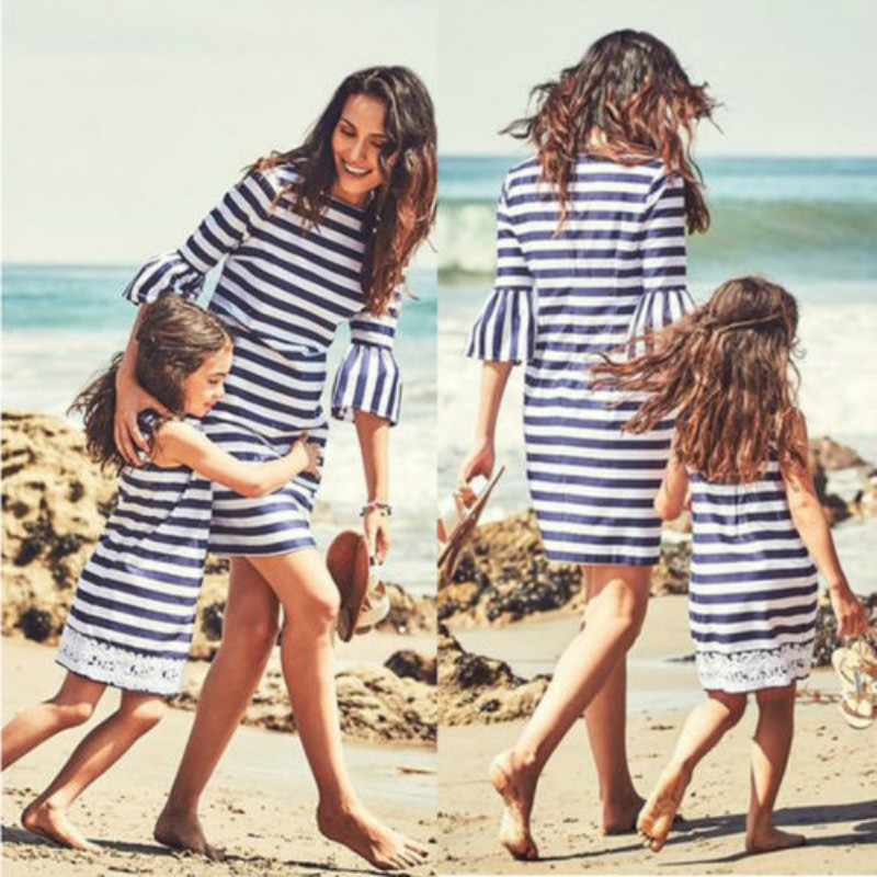Family Mother Daughter Vestidos Stripe Print Summer Matching Dress 2018  Women Girls Party Outfits Clothes-in Dresses from Women s Clothing    Accessories on ... 344124f54fee