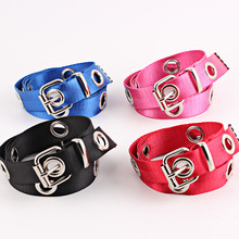 Colorful Long Canvas Belts for Women with Pin Buckle