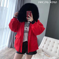 New Winter Women Fur Parka Real Fur Collar Hooded Short Coat Natural Rabbit Fur Lining Casual Female Warm Parka