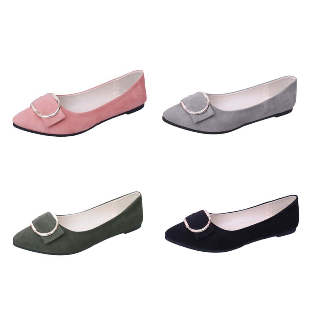 00729be2aeb9 2018 Women Basic Flat Shoes Spring Summer Fashionable Pointed Toe Shallow  Ladies Female All Match Clothes Single Shoes-in Women s Flats from Shoes on  ...