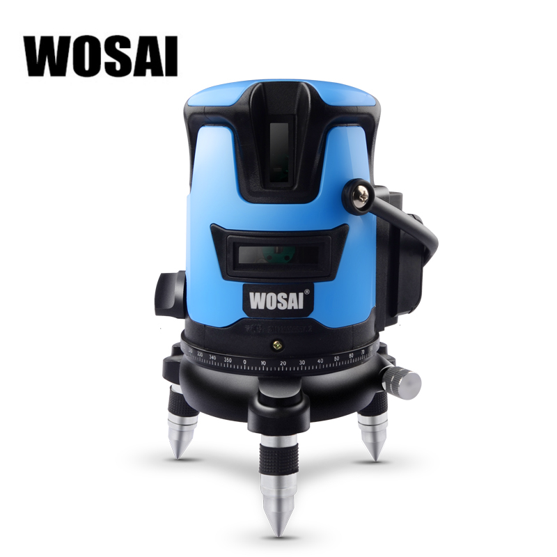 WOSAI 5 Lines 6 Points Blue Laser Level Automatic Self Leveling 360 Vertical Horizontal Tilt Outdoor