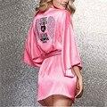 Túnicas de seda Para Las Mujeres Albornoces Bata Soie Femme Mujer Albornoz Albornoz Bata de Satén Sexy Batas Batas Para Mujeres Robe