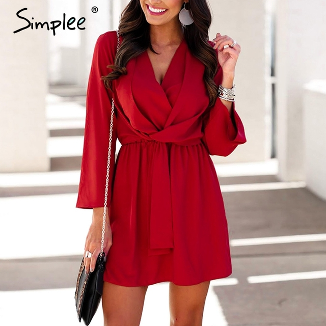 Simplee Vintage long sleeve chiffon summer dress women Black bow office bandage dresses Sexy red female ladies short dress festa