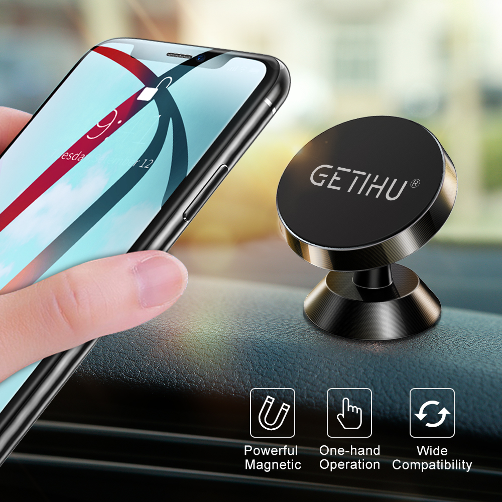 GETIHU Universal Magnetic Car Phone Holder Stand in Car For iPhone X Samsung Magnet