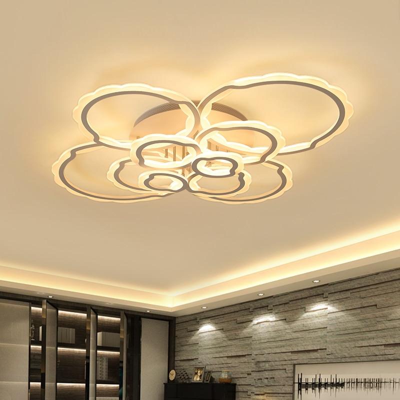 Hot Modern led Ceiling Chandelier For Living Room Bedroom Study Room Home Deco White Color 85-265V Chandelier Fixtures led gold deco chandelier bulbs candle light e14 85 265v 5w lamps