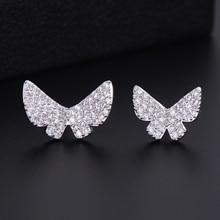 SisCathy Brand Cute Full Cubic Zirconia Butterfly Earrings Luxury Pierced Stud For Women Girls Jewelry