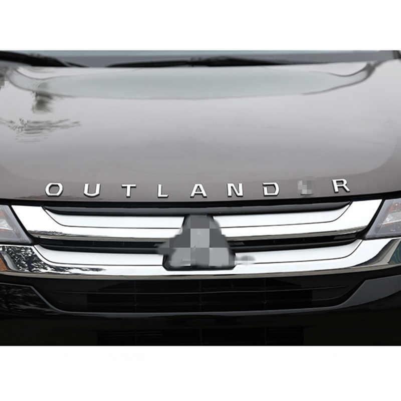 Samochód diy 3D sformułowanie dla Outlander ze stali nierdzewnej stałe litery kaptur godło Chrome Logo naklejana etykieta dla Mitsubishi Outlander