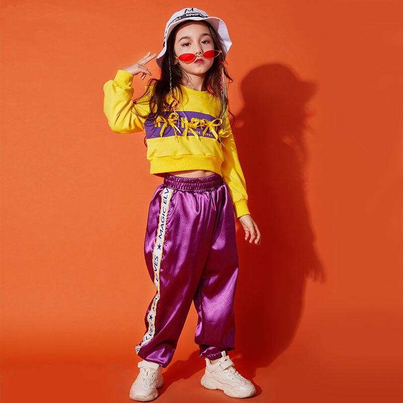 Hip Hop Costume enfants enfants Jazz danse Costumes pour filles rue danse vêtements jaune à manches longues hauts scène tenues DQS1023