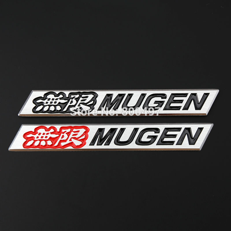 Newest 3D Aluminium Alloy Car Emblem For Mugen PowerCar Accessories Adhesive Car Logo Car Styling Badge car keychain key ring pendant metal alloy logo car emblem keyrings for vw audi toyota universal benz bmw car styling accessories