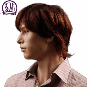 Image 4 - MSIWIGS 8 Inch Short Hair Synthetic Wigs for Men Natural Reddish Brown Straight Male Wig with Bangs Heat Resistant